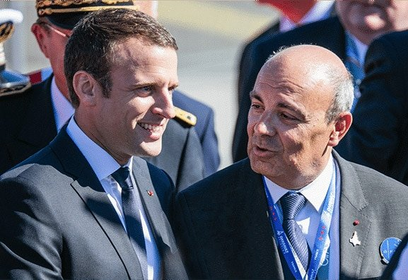 nauguration of 52th Paris Airshow by Emmanuel Macron, French President, and Éric Trappier, Chairman and Chief Executive Officer of Dassault Aviation
