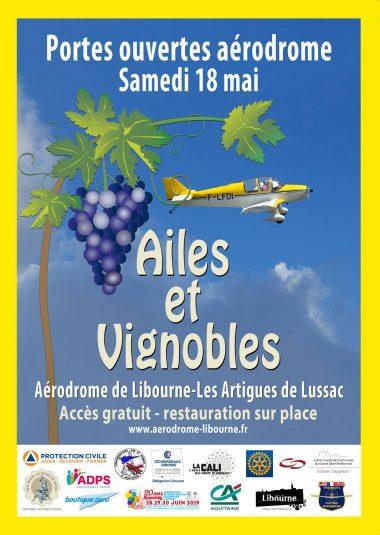 Affiche portes ouvertes « Ailes et Vignobles »